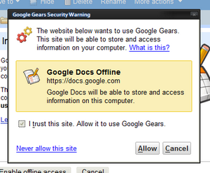 Google Docs Offline, security warning