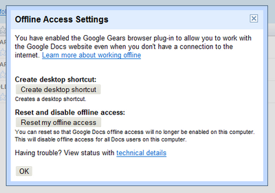 Google Docs, offline access settings
