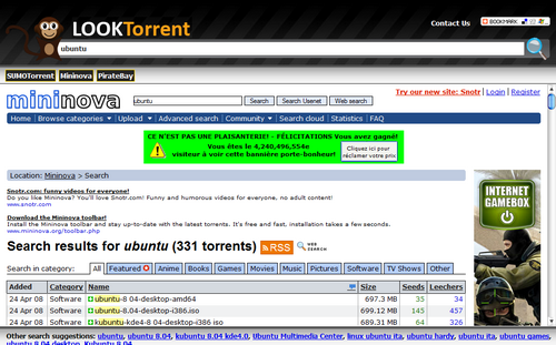 LookTorrent, résultats