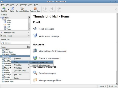 Extension Contacts Sidebar pour Thunderbird