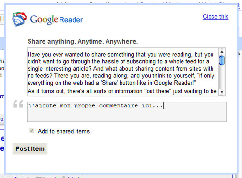 Google Reader - Share with note