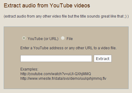 Extract audio from Youtube videos