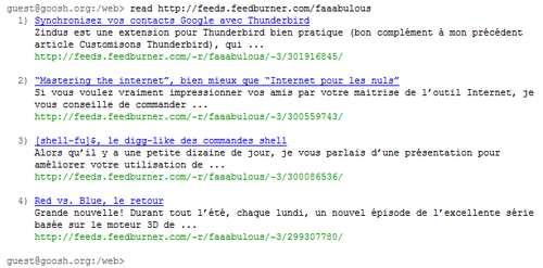 goosh - lecture d\'un flux RSS