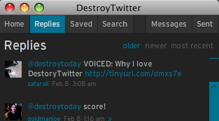DestroyTwitter, l'interface