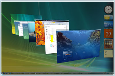 Windows Flip 3D, l'interface